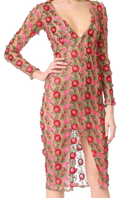 Item - Red Amelia Floral Mid-length Night Out Dress Size 4 (S)