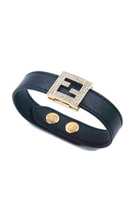 aad1a801c85c Fendi Medium Size ff Logo Swarovski Crystal   Leather Bracelet