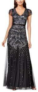 Adrianna Papell Beaded Sequined Cap Sleeve Gown Dress