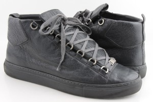 Balenciaga Grey Arena Creased Leather Sneakers Shoes
