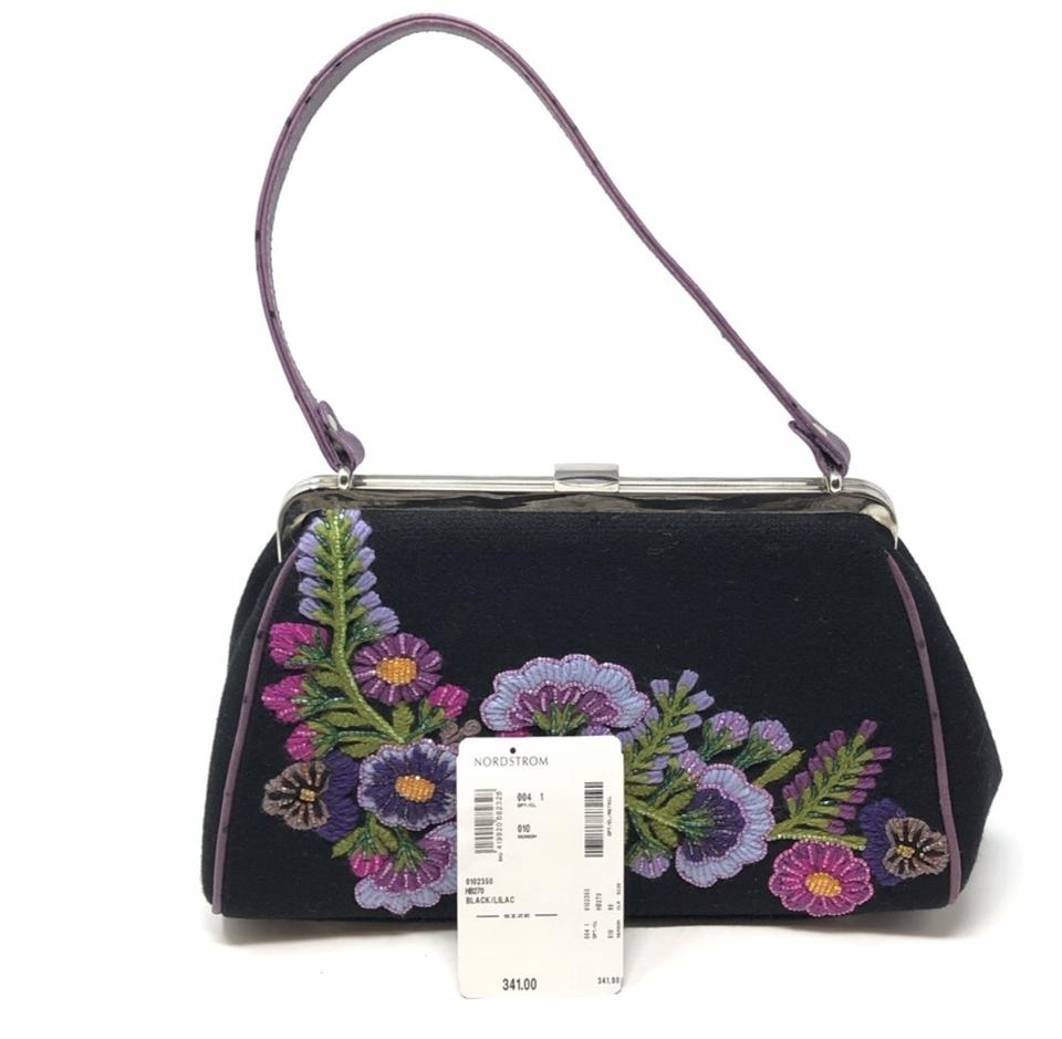 Isabella Fiore Lilac Embroidered Beaded Purse Black Shoulder Bag 47% off  retail
