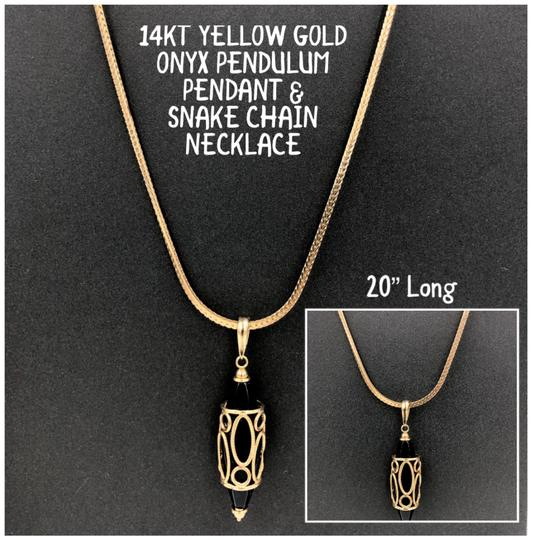 Preload https://img-static.tradesy.com/item/24954663/milor-black-and-yellow-gold-14kt-onyx-pendulum-pendant-snake-chain-20-necklace-0-0-540-540.jpg