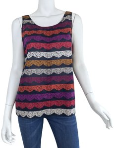 Marc by Marc Jacobs Striped Lace Bow Cotton Top Navy/Multi-Color
