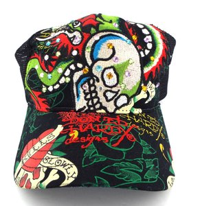 aa86e1c723 Ed Hardy Love Kills Slowly Skull   Dragon Crystal Multi-color embroidered  ...