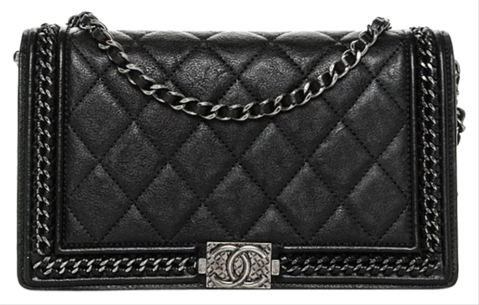 b4539a31c9eb Chanel Black Boy Ruthenium Chain Around Quilted Calfskin Wallet ...