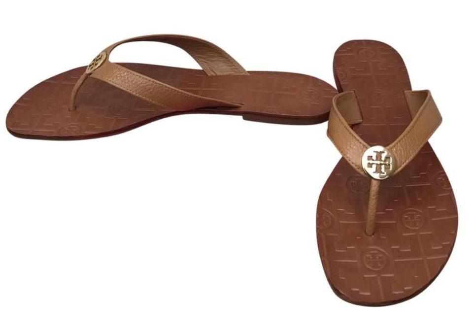 30116dac0c2 Tory Burch Brown Royal Tan Gold Thora Thong Leather Sandals. Size  US 8 ...