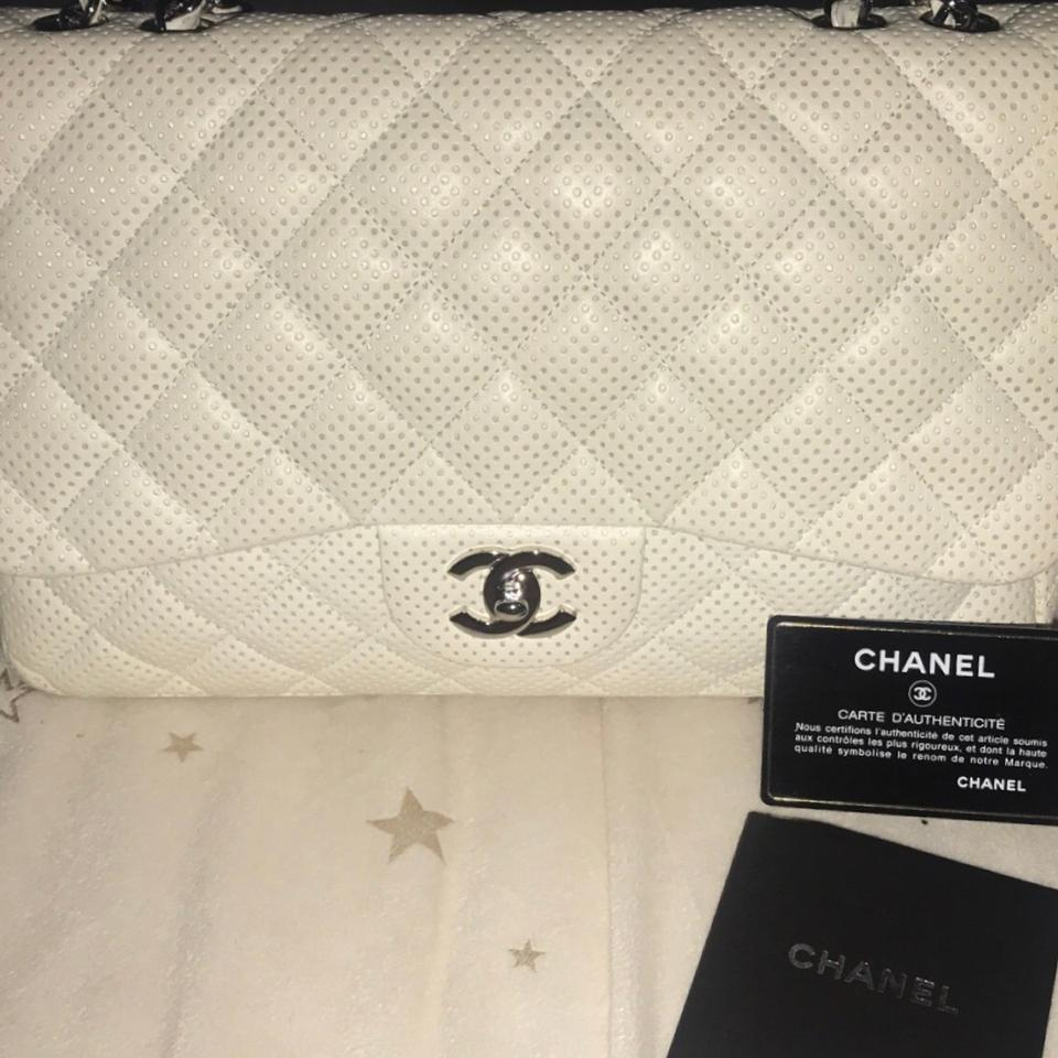 4e8e07c77053 Chanel Classic Flap Perforated White Lambskin Leather Shoulder Bag ...