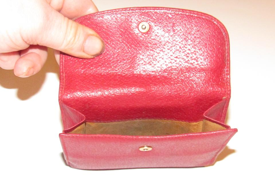 a9b13c79728 Gucci Red Textured Leather with Gold Belt Buckle Hinged Clasp Early Wallet  - Tradesy