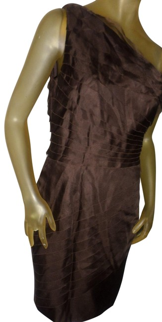 Item - Brown One Shoulder Silk Ruffle Mid-length Cocktail Dress Size 6 (S)