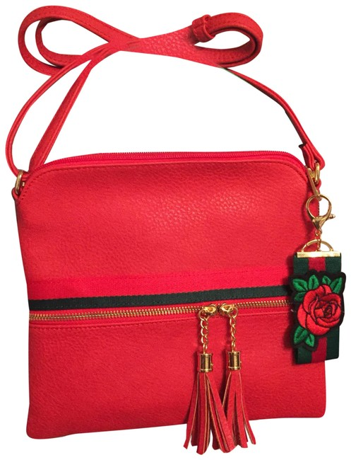 Item - Red/Green Fashion Red & Green Faux Leather Cross Body Bag