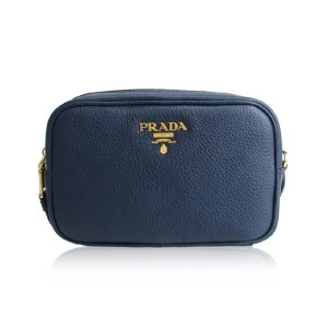 505e16db5ee3 Prada Prada Contenitore Baltico Blue Vitello Daino Leather Vanity Case 1ND00