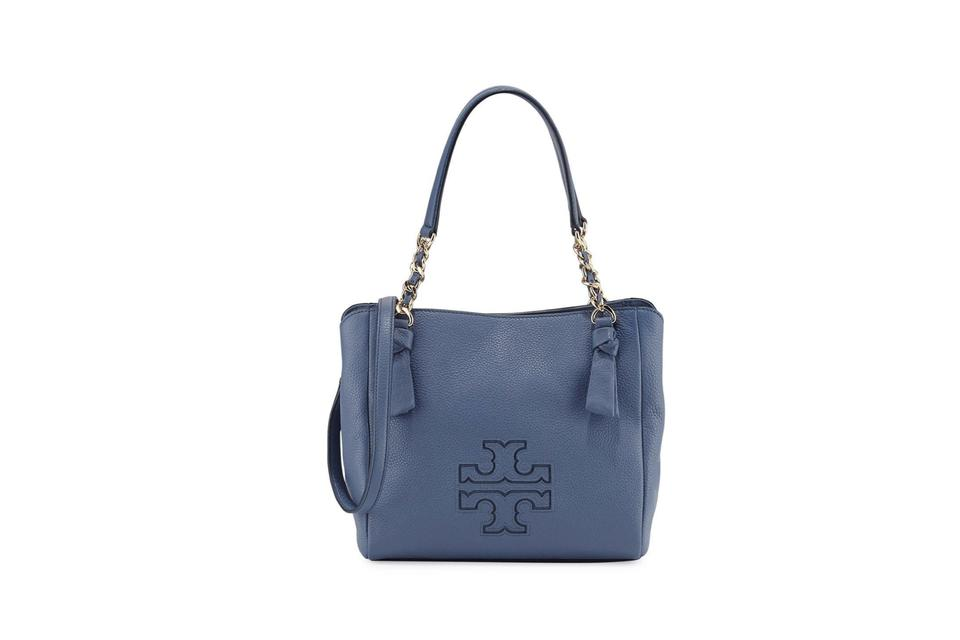 af4340483122c Tory Burch Harper Small Satchel Tote Walls Blue Gold Leather Shoulder Bag