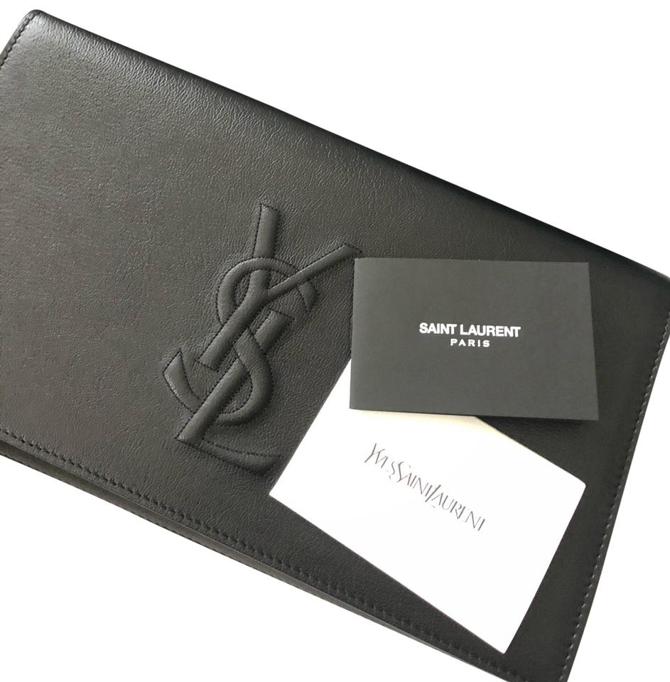 best choice best authentic fresh styles Saint Laurent Ysl Black Lambskin Leather Clutch 35% off retail