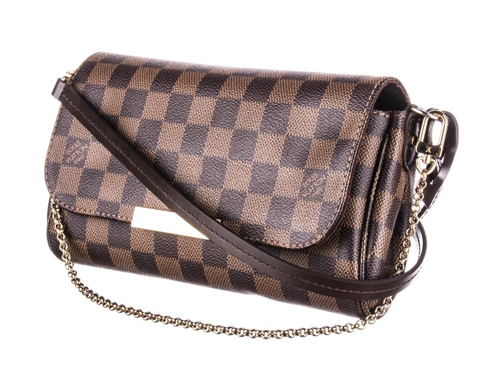 1fa7e91f87bf Louis Vuitton Favorite 2014 Pm Damier Ebene with Strap Brown Coated ...