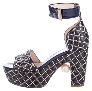 Nicholas Kirkwood Navy and Cream Sandals