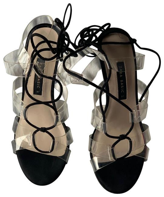 Item - Black & Clear Strappy High Heels Sandals Size EU 37 (Approx. US 7) Narrow (Aa, N)