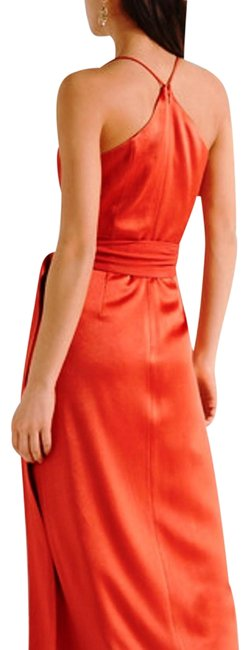 Item - Coral Red/ Chili Heritage Wrap Effect Crepe Paneled Satin Halter Gown Long Formal Dress Size 14 (L)