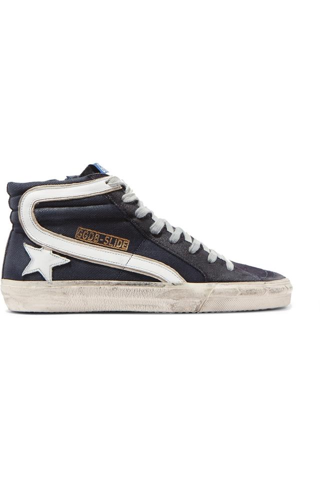 f6d137a4d145 Golden Goose Deluxe Brand Slide Distressed Denim Suede and Leather ...