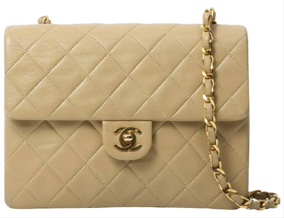 3602e344561ce9 Chanel Vintage Quilted Square Flap Beige Lambskin Leather Cross Body Bag