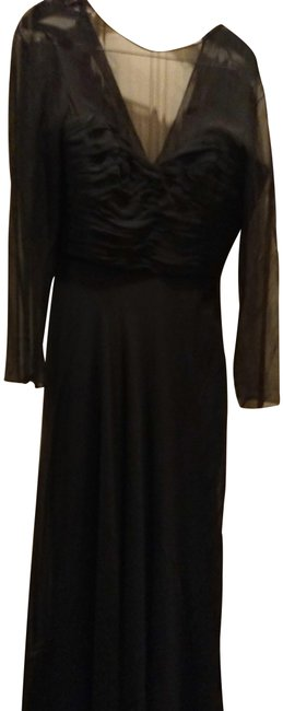 Preload https://img-static.tradesy.com/item/24957073/pamella-roland-black-silk-gathered-with-sheer-sleeve-long-formal-dress-size-12-l-0-1-650-650.jpg