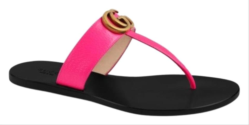 d887ffbfb9d Gucci Marmont Gg Leather Thong Sandals Size EU 35.5 (Approx. US 5.5 ...