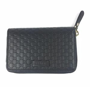 af46bb2fb4cc Gucci Gucci GG Microguccissima Black Leather Zip Around Wallet #449423
