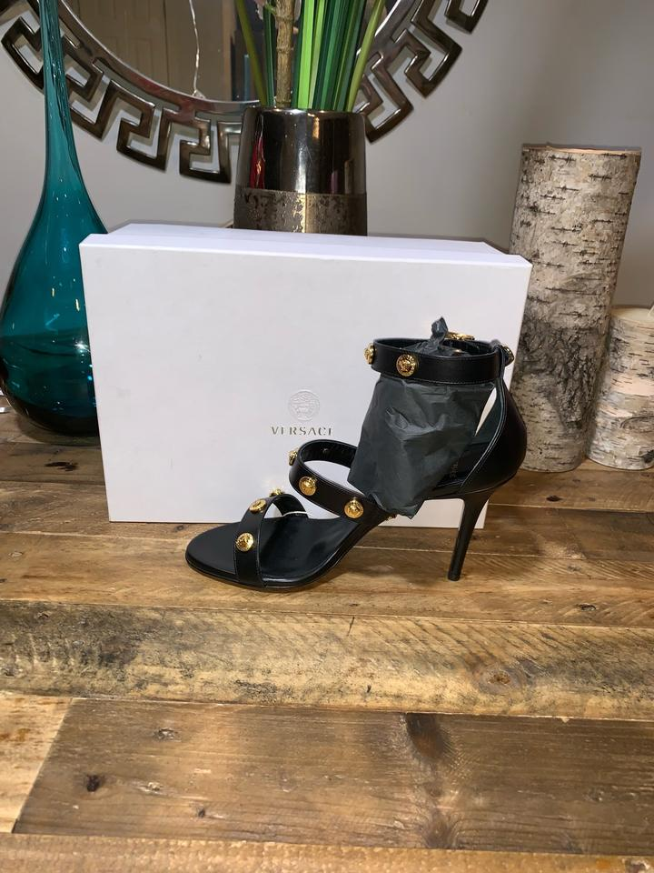 465ca370879 Versace Black Medusa Stud Icon Leather Sandals Size EU 40 (Approx. US 10)  Regular (M