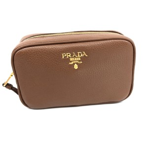 e55afc50f19a Prada Prada Contenitore Brown Vitello Daino Leather Vanity Case 1ND077
