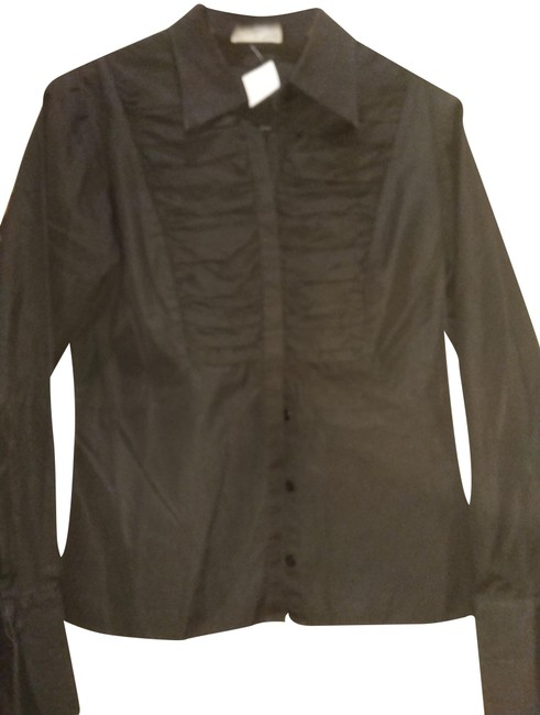 Item - Black Pure Cotton Gathered Front Shirt Button-down Top Size 12 (L)