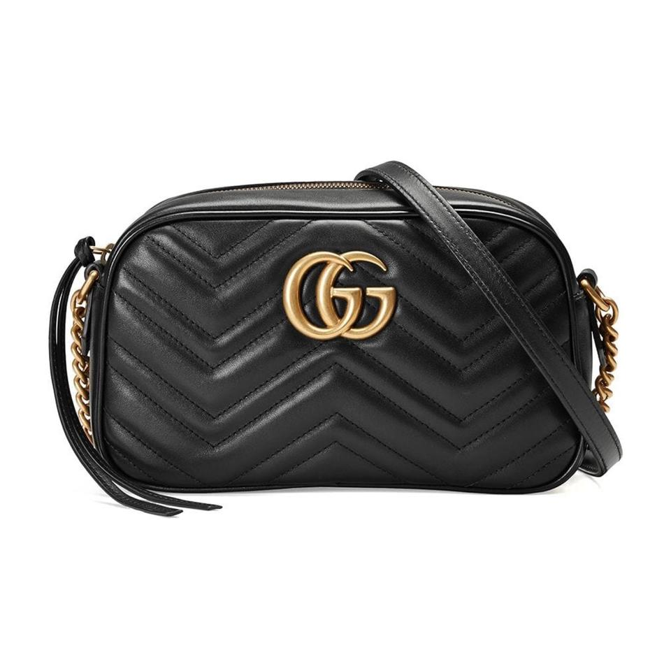 a0d1033f139 Gucci Marmont Gg Matelasse Small Crossbody Black Leather Shoulder ...