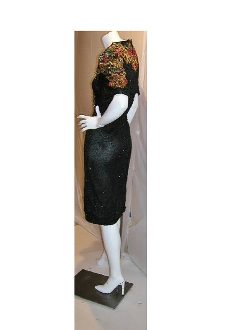 Item - Black/Red/Gold W Embellished Covered Neck & W/Short Sleeves Mid-length Night Out Dress Size 24 (Plus 2x)