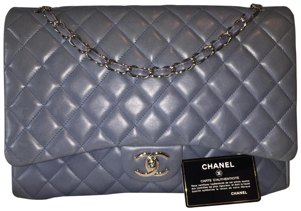 4855b23fa375 Chanel Classic Maxi Double Flap 17-series Silver Cc Gray Crossbody Blue  Lambskin Leather Shoulder Bag