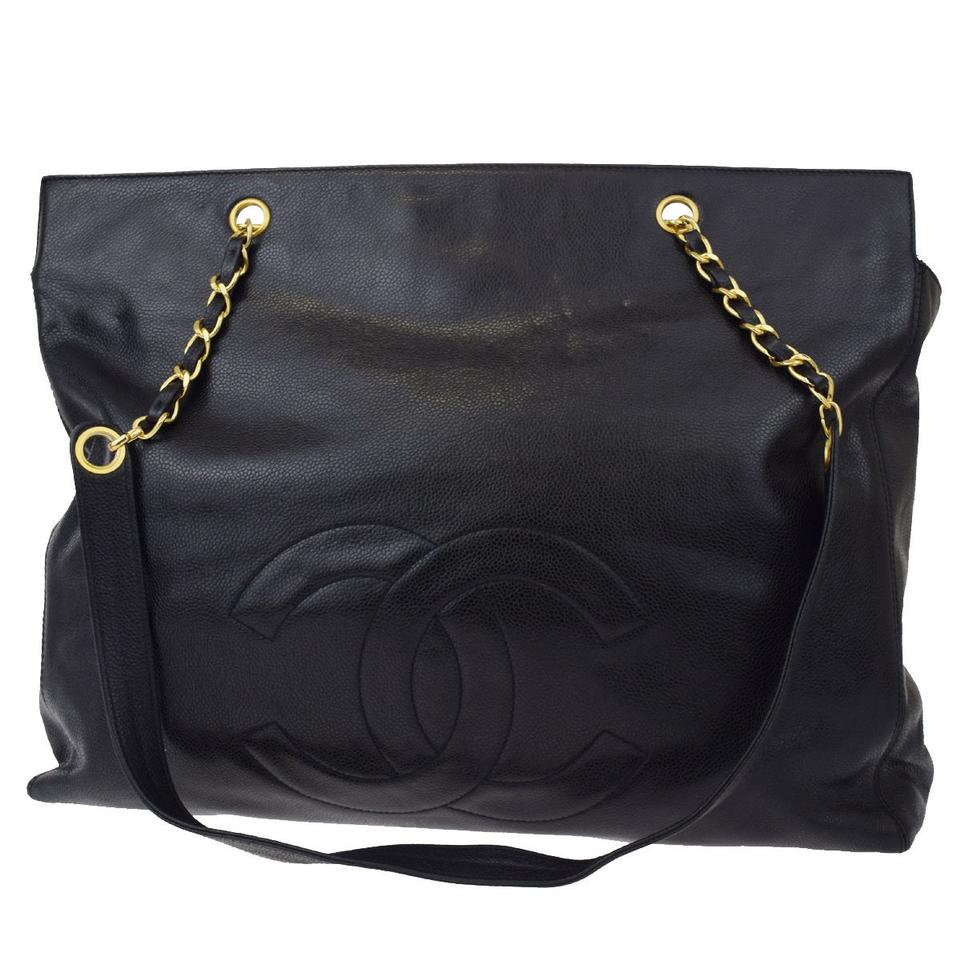 624185b39b8a87 Chanel Shopping Tote Vintage Large Cc Black Caviar Leather Weekend/Travel  Bag