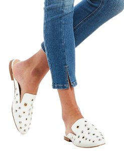 Gianni Bini Mules Studded Grommet Leather White Flats