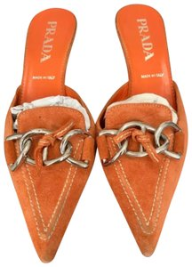 Prada Orange Mules