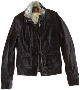 Abercrombie & Fitch Red Plaid Motorcycle Jacket