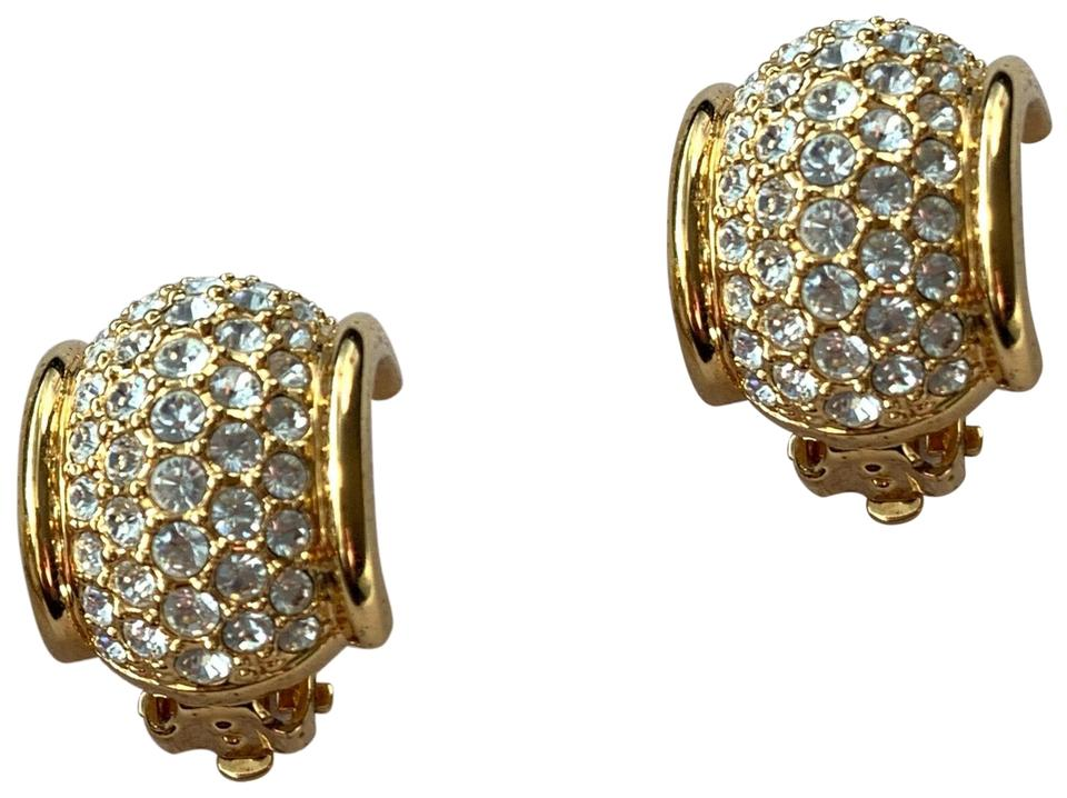 Swarovski Vintage Crystal Barrel Clip On Earrings