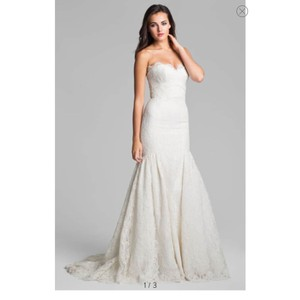 Theia Lace Strapless Mermaid Gown Formal Wedding Dress Size 10 (M)