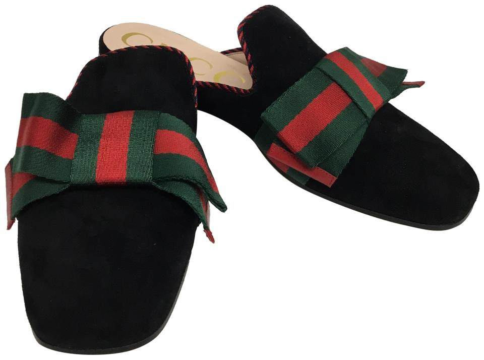 9a512a530 Gucci Black Suede with Green and Red Web Bows Mules/Slides Size EU ...