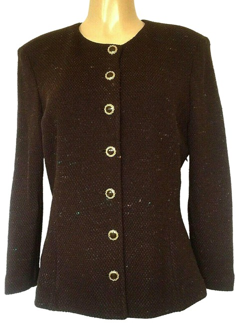 Item - Brown Collection Knit Jacket Cardigan Sweater Multi Color Blazer Size 12 (L)