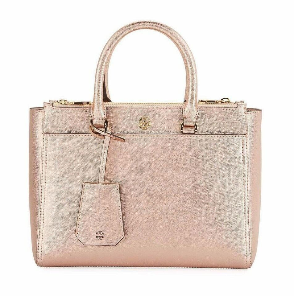2b762516993 Tory Burch Robinson Tote Small Double Zip Rose Gold Leather Shoulder ...
