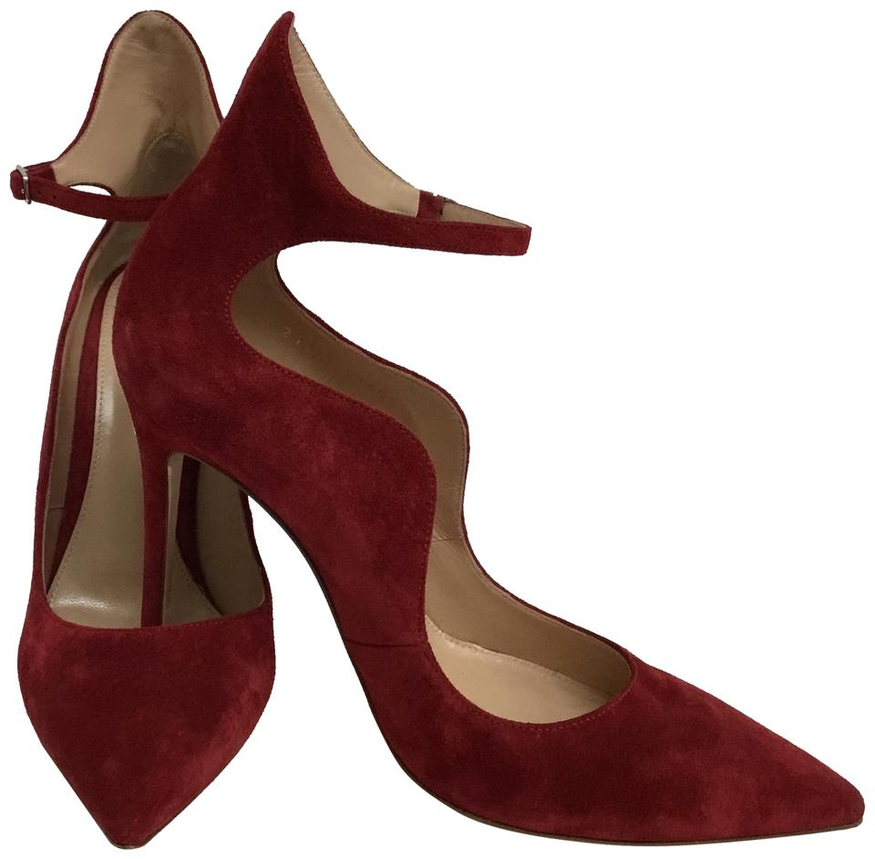 5be05ca05 Gianvito Rossi Red Scalloped Suede Ankle Wrap Pumps Size EU 38 ...