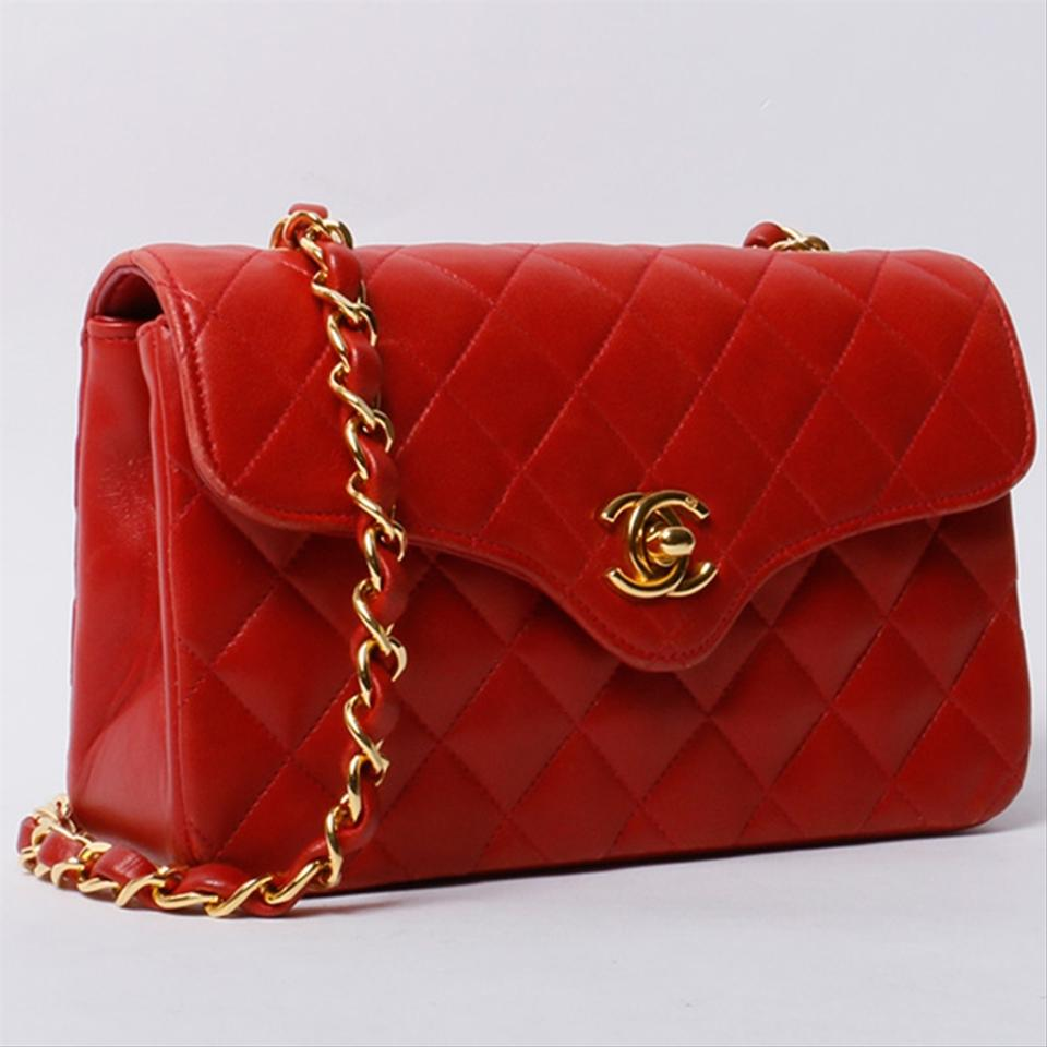 fe5e93b4600d Chanel Classic Flap Vintage Small Quilted Red Lambskin Leather Cross Body  Bag
