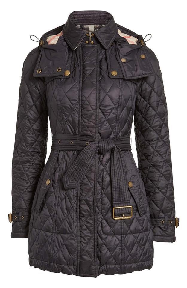 5566a6e2765544 Burberry Black Finsbridge Belted Quilted Check Jacket Medium Coat ...