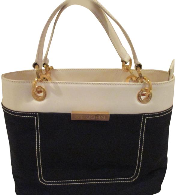 Item - W White/Black Fabric W/Double Handles White/Black Leather / Patent Leather Satchel