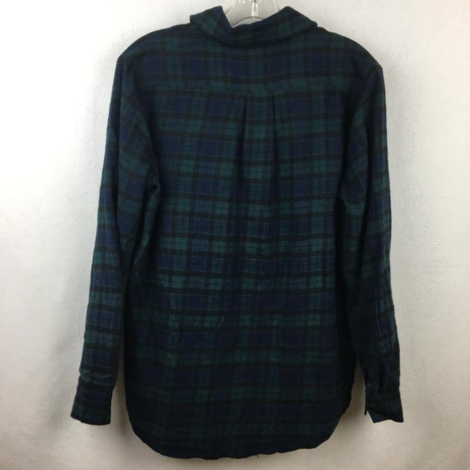 70331f80 Brandy Melville Blue & Green Plaid Flannel Button-down Top Size 10 ...