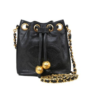 Chanel Vintage Quilted Shoulder Caviar Leather Cross Body Bag