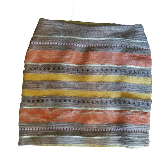 Item - Orange Yellow Tan Pia Pauro Embroidered Skirt Size 8 (M, 29, 30)