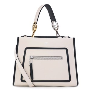 Fendi Leather Runaway Calf Camelia Tote in Cream