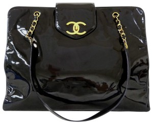 bd8c1397e642 Chanel Tote Vintage Super Model Shopper Luggage Black Patent Leather ...